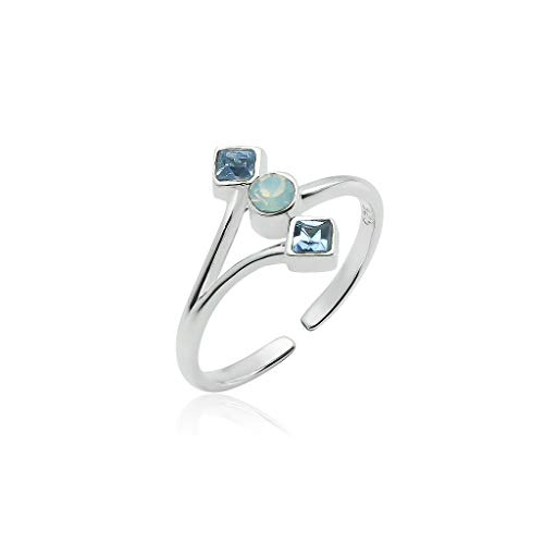 Big Apple Hoops - Genuine Sterling Silver Round and Square Austrian Crystal Open Toe Ring for Women | All Day Comfort with 3 Color Styles