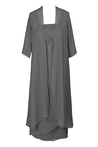 Dobelove Women's Tea Length Bride Mother Dress With Jacket (16, Gray)