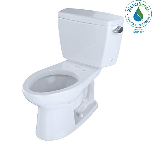 (TOTO CST744ELR#01 Drake 2-Piece Eco Elongated Ada Toilet with Right-Hand Trip Lever, Cotton White)