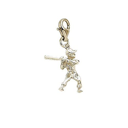 Gold Plated Baseball Player Charm With Lobster Claw Clasp, Charms for Bracelets and Necklaces (Gold Charm Plated Player)