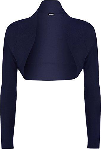 WearAll-Bolro-cardigan--manches-longues-Hauts-Femmes-Bleu-40-42