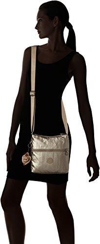Kipling Zamor Essential, Bolso De Hombro para Mujer Dorado (Metallic Pewter)