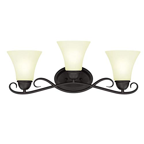 Westinghouse Lighting 6306900 Dunmore Three-Light Indoor Wall Fixture, Oil Rubbed Bronze Finish with Frosted Glass,