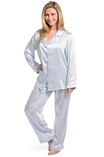 Fishers Finery Women's Classic Pure Mulberry Silk Pajama Set with Gift Box, Light Blue, X-Large
