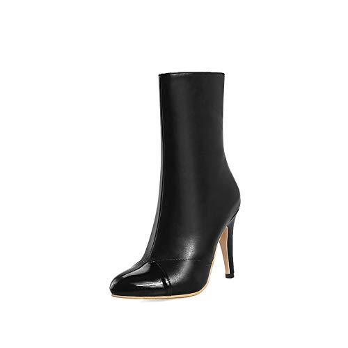 ZHZNVX Damen Schuhe PU Herbst & Winter Mode Stiefel Stiefel Stiletto Heel Spitz Mitte Stiefel Weiß Schwarz   Party & Abend