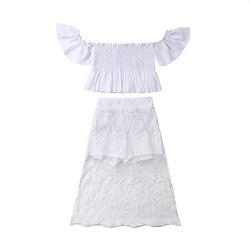 Kids Baby Girls Off-Shoulder Ruffled Crop Tops + Lace Skirts Shorts 2pcs Outfit Girls Summer Clothes Wedding (White, 5-6T)