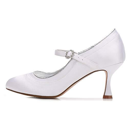da da da Toe Mid Heels Heel Satin Autunno nbsp;Scarpe Sposa Sposa Sposa Donne 6cm Heel Closed Elobaby Ivory zEaqT