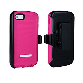 Body Glove ToughSuit Case with Holster Belt Clip for iPhone 5 - 1 Pack - Retail Packaging - Pink With black Holster