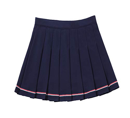 YOUGUE Women High Waist Pleated Skirt Tennis Scooters Skirts Navy Blue