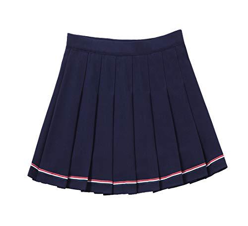 YOUGUE Pleated Tennis Skirt Cheerleader Uniform Skirt for Women Girls Navy Blue -