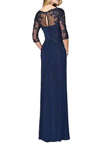 Partykleider Chiffon mit Lang Damen Abiballkleider Fuchsia 4 Abendkleider Aermel 3 Charmant Navy Blau Spitze Brautmutterkleider z0qHw4