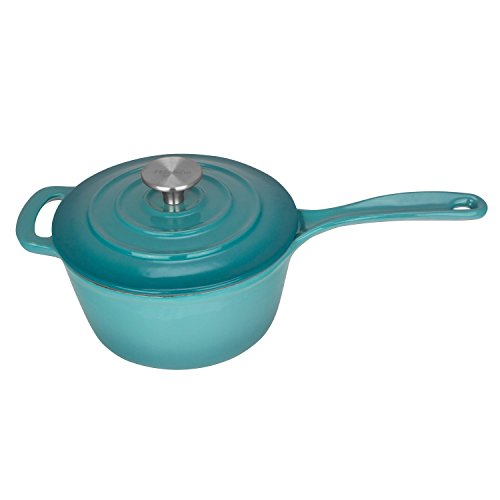 Zelancio 2.5 Quart Cast Iron Enamel Sauce Pan Pot Covered Sauce Pot (Aqua Blue)