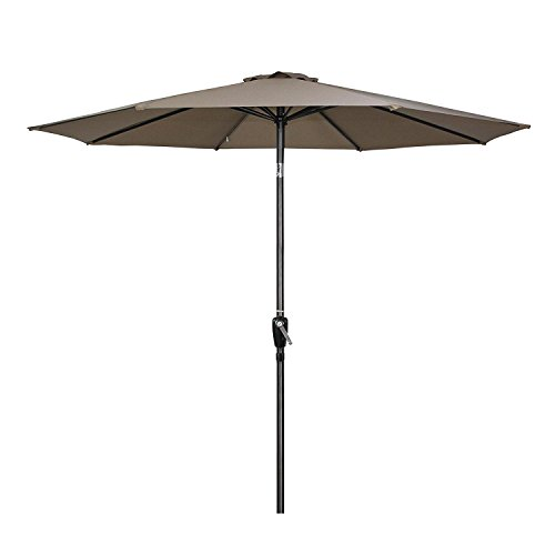 G-House 9 Ft Garden Patio Umbrella Outdoor Table Umbrella with Push Button Tilt and Crank, Sturdy Steel, 8 Ribs (Taupe)