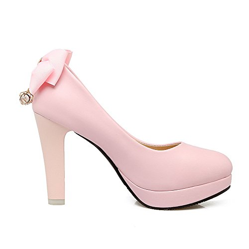 AllhqFashion Damen Rein Hoher Absatz Rund Zehe PU Leder Ziehen auf Stiefel, Pink, 38