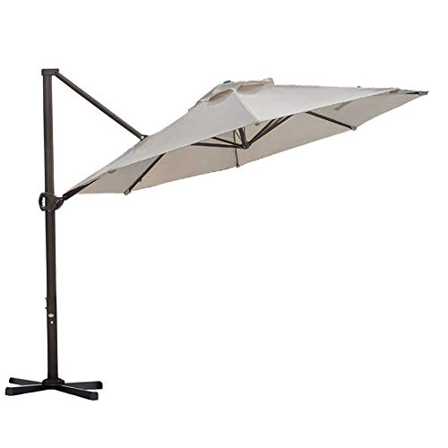 Aluminum Tilt Offset Umbrella - Abba Patio 11 Ft Offset Patio Umbrella with Crank Lift and Tilt and Cross Base, 11', Beige