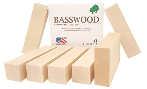 7 Piece Premium Beginners Basswood Carving/Whittling KIT. Suitable for Kids or Adults, Beginner to Expert. 100% Made in The USA!