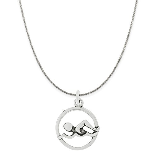 Sterling Silver Cut Out Swimmer Disc Charm Pendant on Sterling Silver Rope Chain Necklace, 20