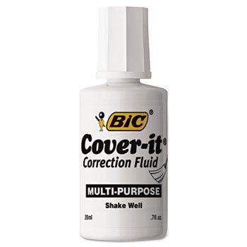 - BIC Cover-It Correction Fluid, 20 Milliliter Bottle, White, 1/Each (WOC12-WE)