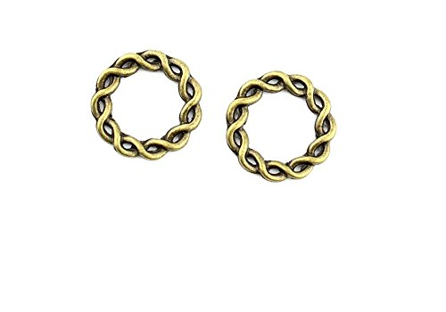 (Price per 460 Pieces Jewelry Making Charms MFRY0 Twisted circle Pendant Ancient Bronze Findings Craft Supplies Bulk Lots)