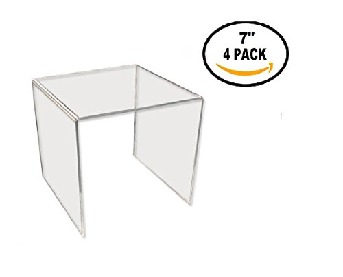 T'z Tagz Brand Clear Acrylic Square Riser Sets & Packs 2 inch - 8inch (acrylic, 7