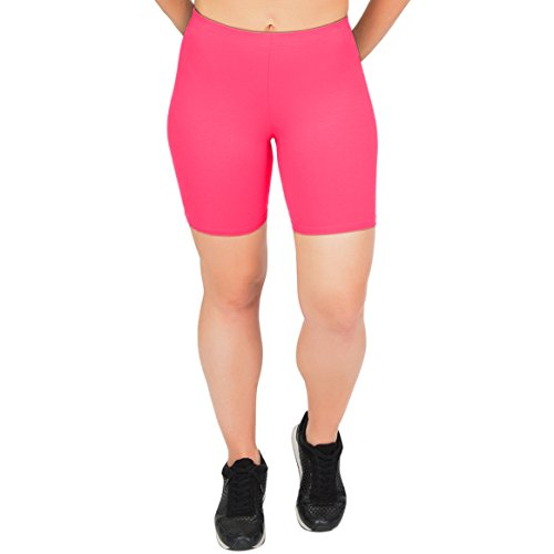 Stretch is Comfort Women's Cotton Stretch Workout Biker Shorts Large Hot Pink ()