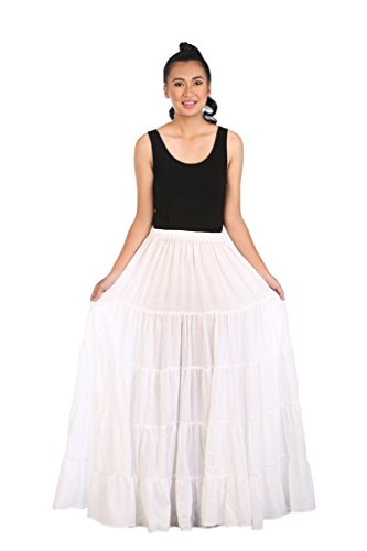 Lannaclothesdesign Women's Cotton Long Ruffle Full Circle Long Skirts Maxi Skirt One Size White (Pleated Circle Skirt Full)