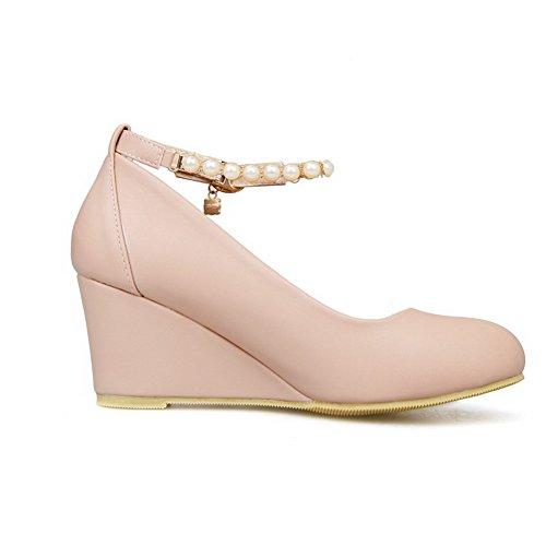 Allhqfashion Womens Pu Tacco-tacco Tondo Scarpe Con Fibbia Tinta Unita Pompe-scarpe Rosa