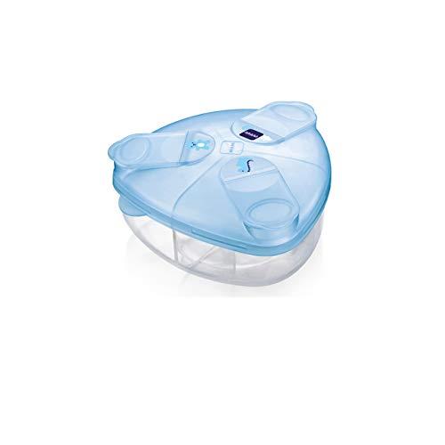 MAM melkpoederdispenser, melkpoederdoos voor het eenvoudig vullen van babyflesjes met babymelkpoeder, 3 ruime kamers…