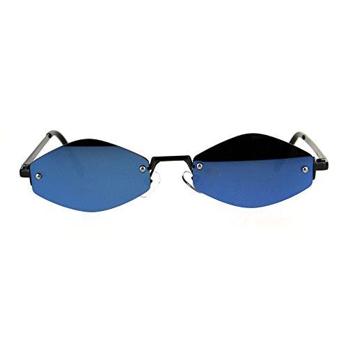 Blue Diamond Mirror Lens (Mens Diamond Hippie Pimp Rimless Metal Color Mirror Lens Sunglasses Gunmetal Blue)