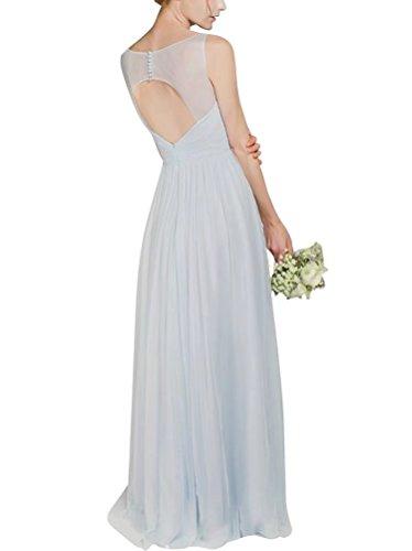 Ainidress Robe De Demoiselle D'honneur Longue Des Femmes Robes De Soirée Robe De Bal En Mousseline De Soie Col V Bleu Clair