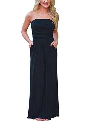 long black maxi dress strapless - 5