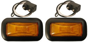 Set of 2 Amber 15 Series Marker Lights w Grommet and Pigtails (Light Side Marker Series)
