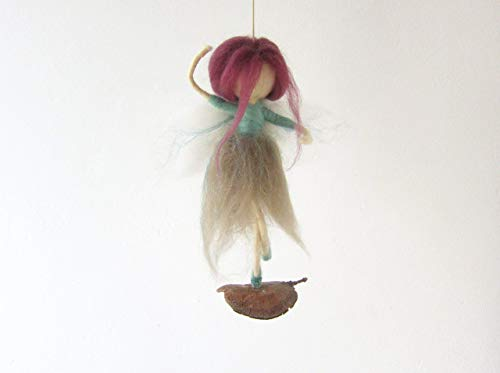 Needle Felted Ballerina Fairy Dancing On A Tree Pod, For Home Decor Or Girl Nursery, Fantasy Whimsical Handmade Figurine Art Doll