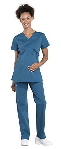 CHEROKEE Workwear Professionals Women's Maternity Scrub Set - WW685 Mock Wrap Top & WW220 Straight Leg Pant, Caribbean Blue, Medium