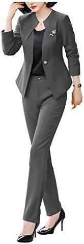 YSMO Women's 2 Piece Slim Fit Suit Office Lady Tux Blazer Suits Peak Lapel Jacket P