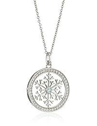 "Platinum-Plated Swarovski Zirconia Frosty Mint Snowflake in Round Pendant Necklace, 16""+2"" Extender"