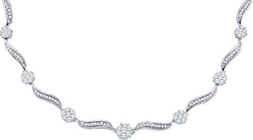 14kt White Gold Womens Round Diamond Flower Cluster Luxury Necklace 2-1/2 Cttw (I1-I2 clarity; H-I color)