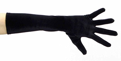 Pure Opulence Elbow Length Velvet Gloves, Black