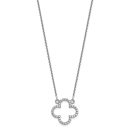 14k White Gold Small Chain Necklace Diamond Quatrefoil Design Pendant Charm Contemporary Fine Jewelry Gifts For Women For Her