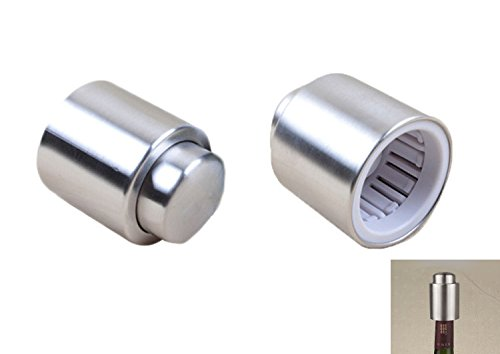 Stainless Steel Champagne Stopper - yueton Pack of 2 Stainless Steel Wine Sealer / Vacuum Wine Stopper / Champagne Sealer/sealed Red Wine Storage Bottle Stopper