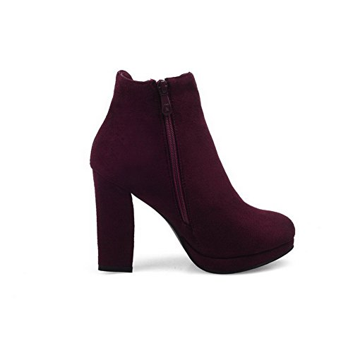 Womens Closed Heels Low Boots AmoonyFashion Imitated High Top Round Claret Suede Zipper Toe gn4qxqf1w