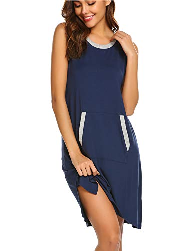 Ekouaer Womens Nightgown Cotton Sleep Shirt Dress Casual Pocket Sleeveless Sleepwear Navy Blue