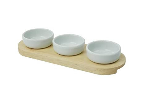 T&G Woodware 3 cuencos para salsas con base de caucho, estuche regalo de acetato:
