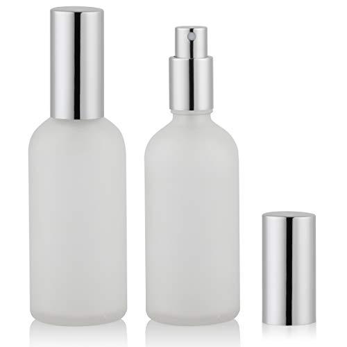 Empty Frosted Glass Spray Bottle 4oz, Perfume Atomizer, Fine Mist Spray (2 PACK)