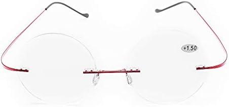 超軽量 老眼鏡 レトロ風 丸型 リムレス レディース メンズ 携帯用 おしゃれな リーディンググラス シニアグラス (+1.00, ブラック)