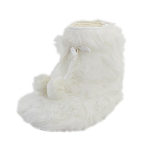 Home Slipper Indoor Boots,Womens Girls Winter Warm Fairisle Fringes with Pom Poms Fashionable House Booties, Size XL by Home Slipper (Image #2)