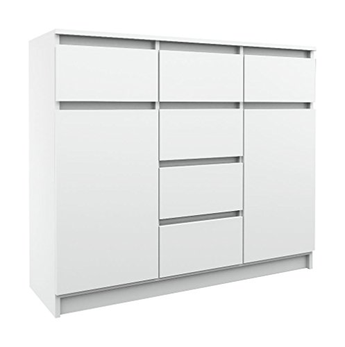 ​ 2-Door Sideboard with 6 Drawers - in different color combinations - modern design Dresser (White) by Gravalo