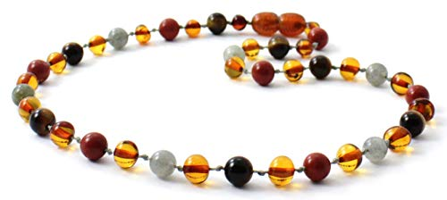 - BoutiqueAmber 32 cm Unpolished Baltic Amber Teething Necklace made with Amethyst Beads Size 12.5 inches 12.5 inches, Raw Multi//Amethyst