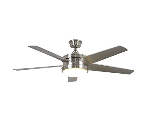 Home Decorators Collection Portwood 60 in. LED Indoor/Outdoor Brushed Nickel Ceiling Fan For Sale