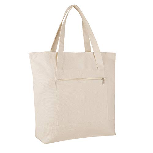 Pack of 12 - Heavy Duty Canvas Tote Bags BULK Bags Reusable Grocery Shopping Logo Blank Luggage Totes Canvas Bags Bulk Lot Wholesale Tote Bags with Zipper Top Closure and - Bags Canvas Totes Luggage